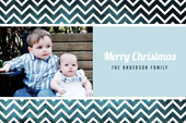 blue chevron holiday cards