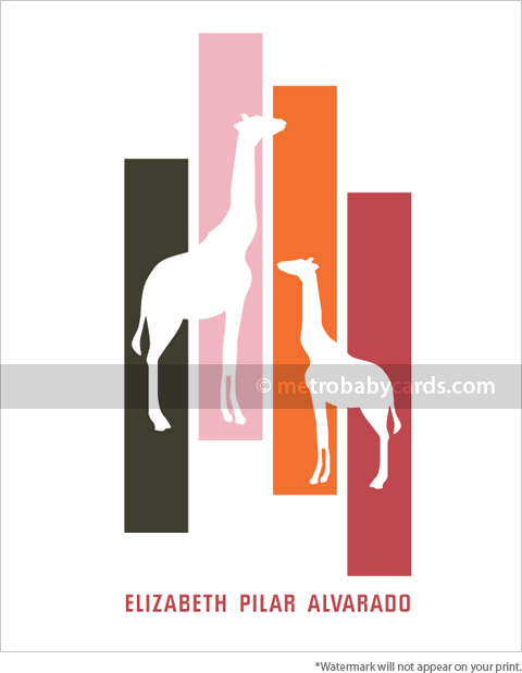 giraffes pink personalized nursery art