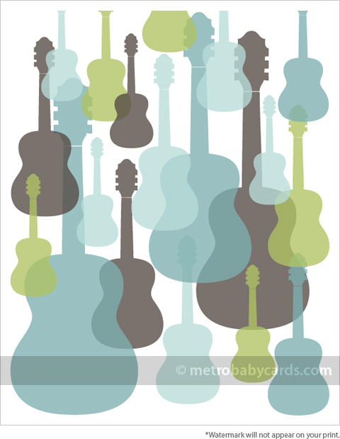modern guitars blue nursery art