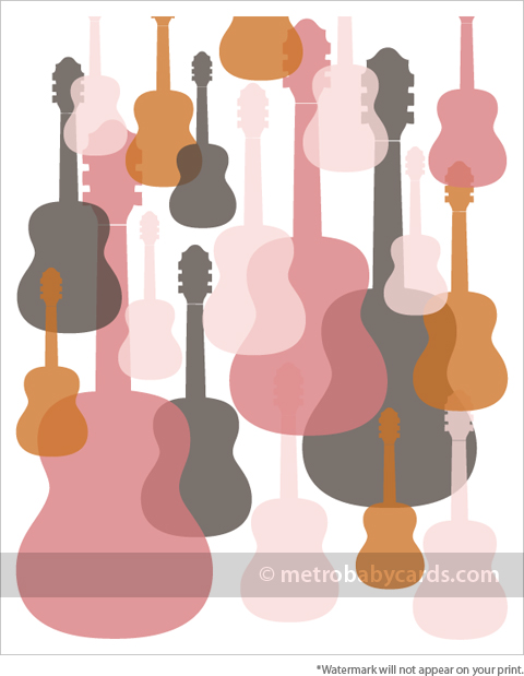 modern guitars pink nursery art