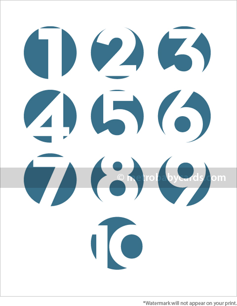 modern numbers blue nursery art