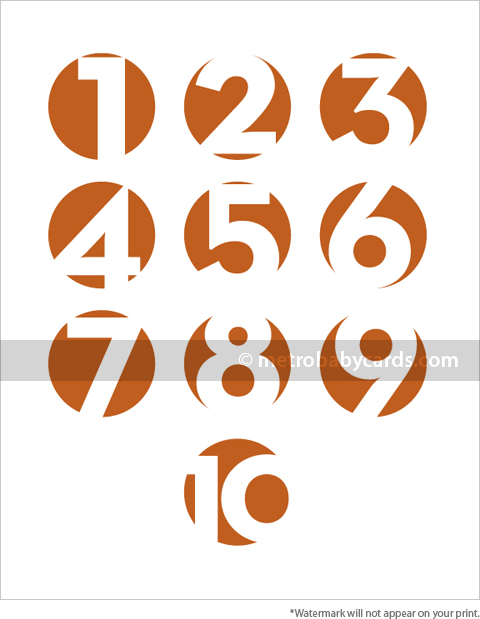modern numbers orange nursery art