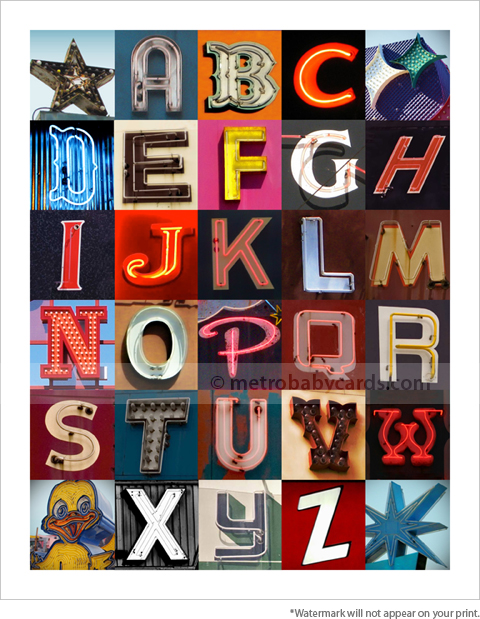 vintage alphabet wall art