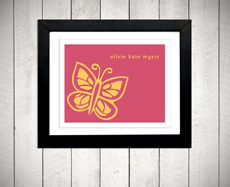 Butterfly nursery art print personalized name